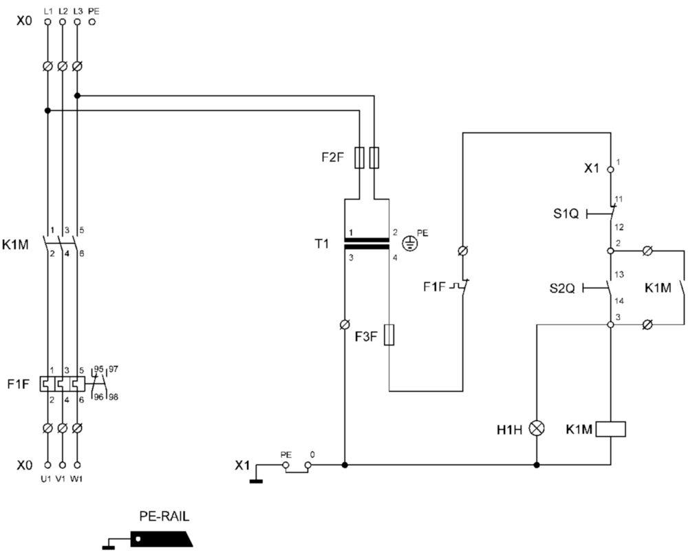 Standard Motor Control Line And Wiring Diagram : Direct on line motor starter dol